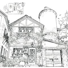 Concept art of Ellone's parents' house.