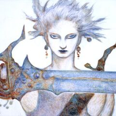 Bartz artwork by Yoshitaka Amano, for the box cover of <i>The Sky</i>.