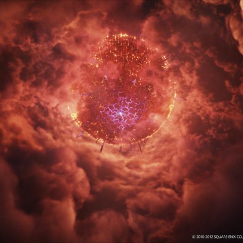 CG render of Dalamud piercing the cloudy atmosphere.