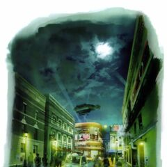 Artwork of Midgar's Sector 8 for <i>Crisis Core -Final Fantasy VII-</i>.