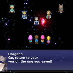 The Warriors of Dawn and King Tycoon talking to the Warriors of Light in the ending.