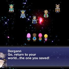 Dorgann falando com os Guerreiros da Luz no final.