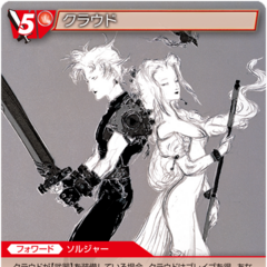 Aeris appears on Cloud's card with an Amano artwork.