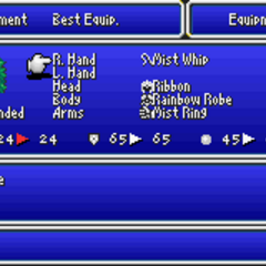 Equipment menu in the GBA version.
