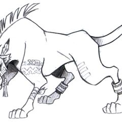 Early concept art of Red XIII with a different tattoo.