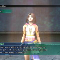 O perfil de Yuna no <i>Shinra's Dossiers</i>.