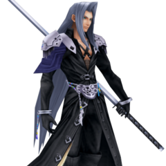 In-game render of Sephiroth's default costume.