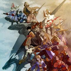 Ramza com o elenco de <i>Final Fantasy Tactics: War of the Lions</i>.