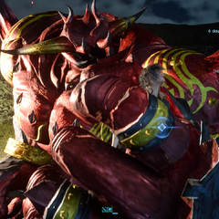 Red Giant picks Noctis up in its fist.