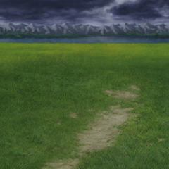 Ruined grassland battle background in <i><a href=