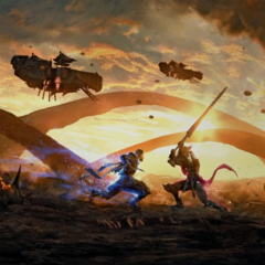 Artwork of Nyx and Glauca fighting in Duscae.