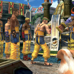 Wakka with his team members in Luca.