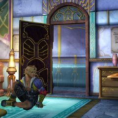 Yuna's room in the inn in <i>Final Fantasy X</i>.