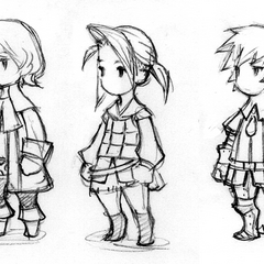 Early DS concept art of the default Freelancer job for Luneth, Ingus, and Arc, by Akihiko Yoshida.