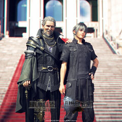 Promotional image for the first anniversary of <i>Kingsglaive</i>.