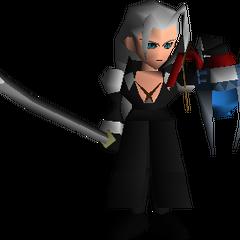 Sephiroth taking Jenova's head from the Reactor.
