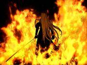 Sephiroth dans les flammes