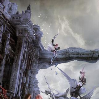 Uma imagem promocional de Serah e Noel em Valhalla com Lightning lutando contra Caius e Bahamut no fundo.