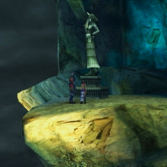 A estátua de Yuna com um chifre em Mt. Gagazet.