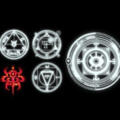 Various symbols used during Diablos's summon animation.