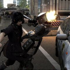 Noctis slams a soldier against a police car.