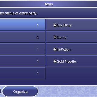 The Item menu in the Steam version.