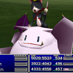 Cait Sith using an item on an ally.