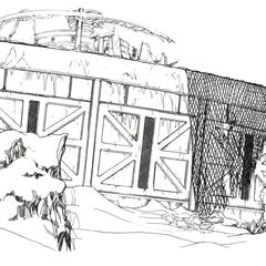 Concept art of the outside wall.