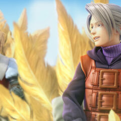 Luneth on a chocobo from the FMV opening of <i>Final Fantasy III</i>.