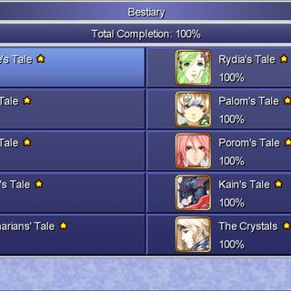The Bestiary menu in the Steam version. Note that the completion of the bestiary is depending on the tale you played.