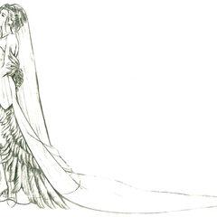 Arte conceitual do vestido de casamento de Yuna feita por Tetsuya Nomura.