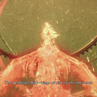 Depiction of the Vermilion Bird from the <i>Type-0</i> opening.
