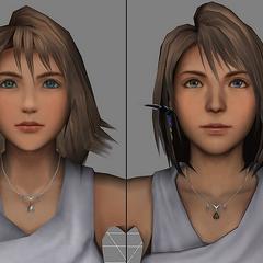 Comparação entre o modelo de campo de Yuna e o de cenas em <i>Final Fantasy X</i>.