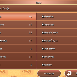 The Item menu in the iOS version.