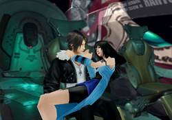 Squall and Rinoa onboard the Ragnarok from FFVIII Remastered