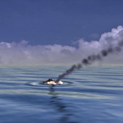 <i>Tiny Bronco</i> hitting the sea in an FMV.