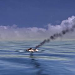 <i>Tiny Bronco</i> hitting the sea in an FMV.