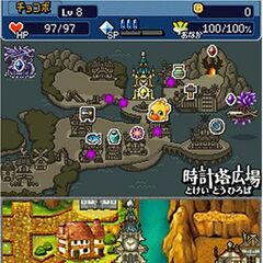 Map of Lostime in <i>Chocobo's Dungeon DS+</i>.