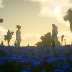Lunafreya and Ravus on a field of sylleblossoms.