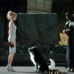 Luna greeted by Umbra and Pryna in <i>Final Fantasy XV</i>.