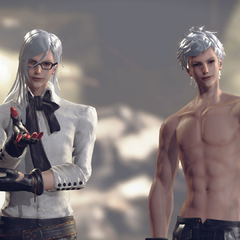 Still of Adam and Eve in <i>NieR: Automata</i>.