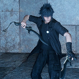 Noctis with Ulric's Kukris in <i>Final Fantasy XV</i> (Insomnian left hand; Galahdian right hand).
