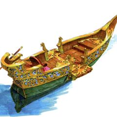 Concept artwork of the canal boat that ferries people between the town and castle.