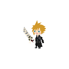Cloud's <i>Kingdom Hearts II</i> costume in <i>Kingdom Hearts Mobile</i>.