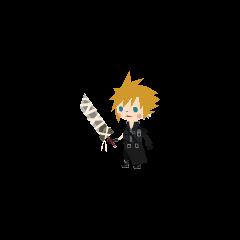Cloud's <i>Kingdom Hearts II</i> costume in <i>Kingdom Hearts Mobile</i>.