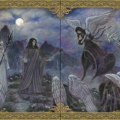 Иллюстрация из <i>Космогонии</i>, изображающая Оракула с трезубцем.