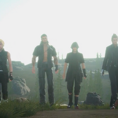 Noctis e o grupo no trailer de <i><a href=