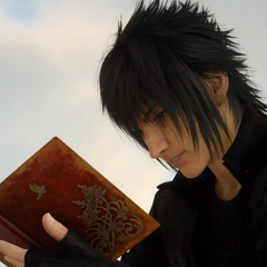 Noctis reads the notebook before heading off to <a href=