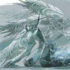 Concept art of Raines in crystal stasis for <i>Final Fantasy XIII</i>.