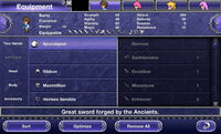 FFV iOS Equipment Menu